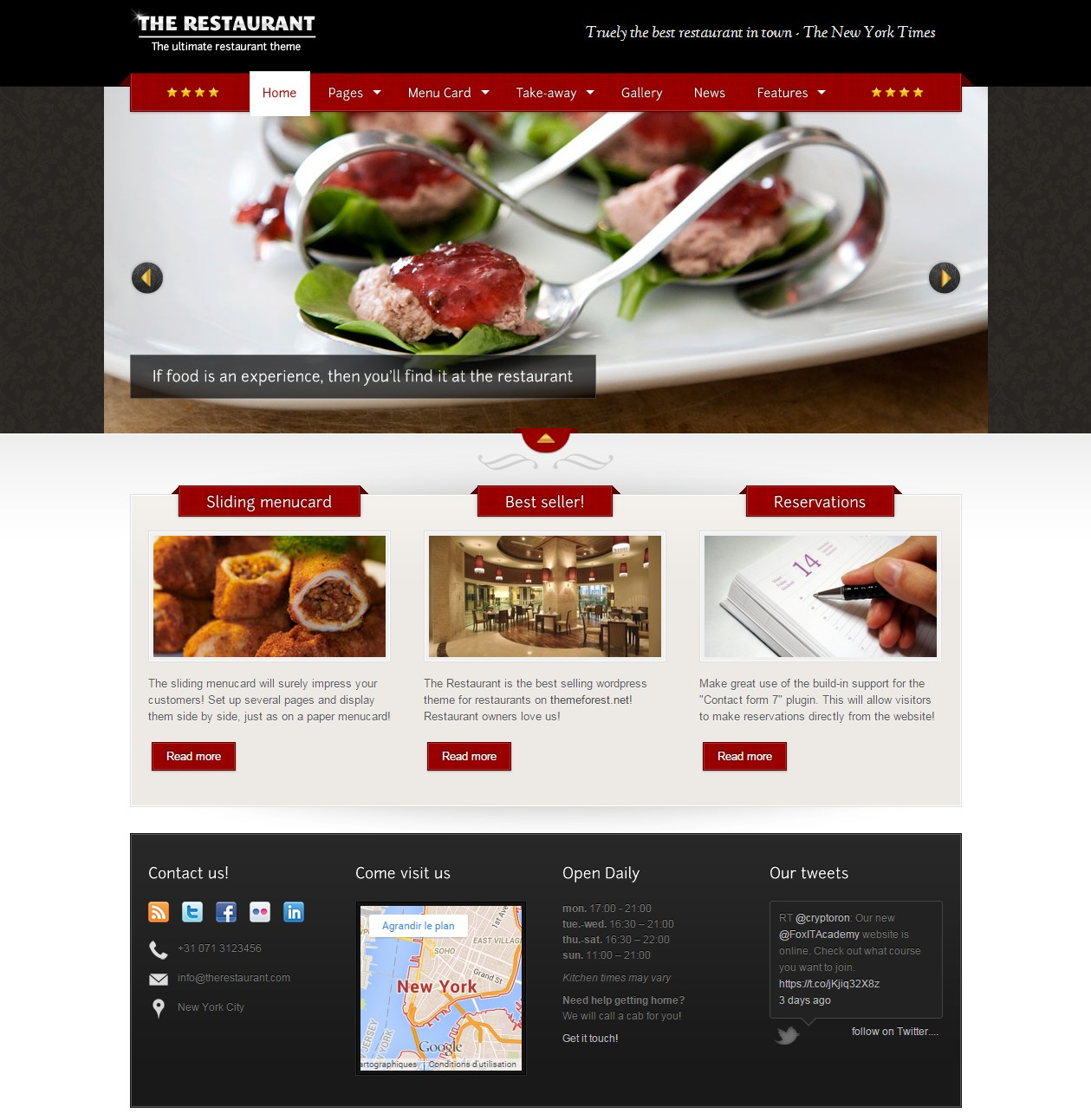 theme the restaurant créer un site