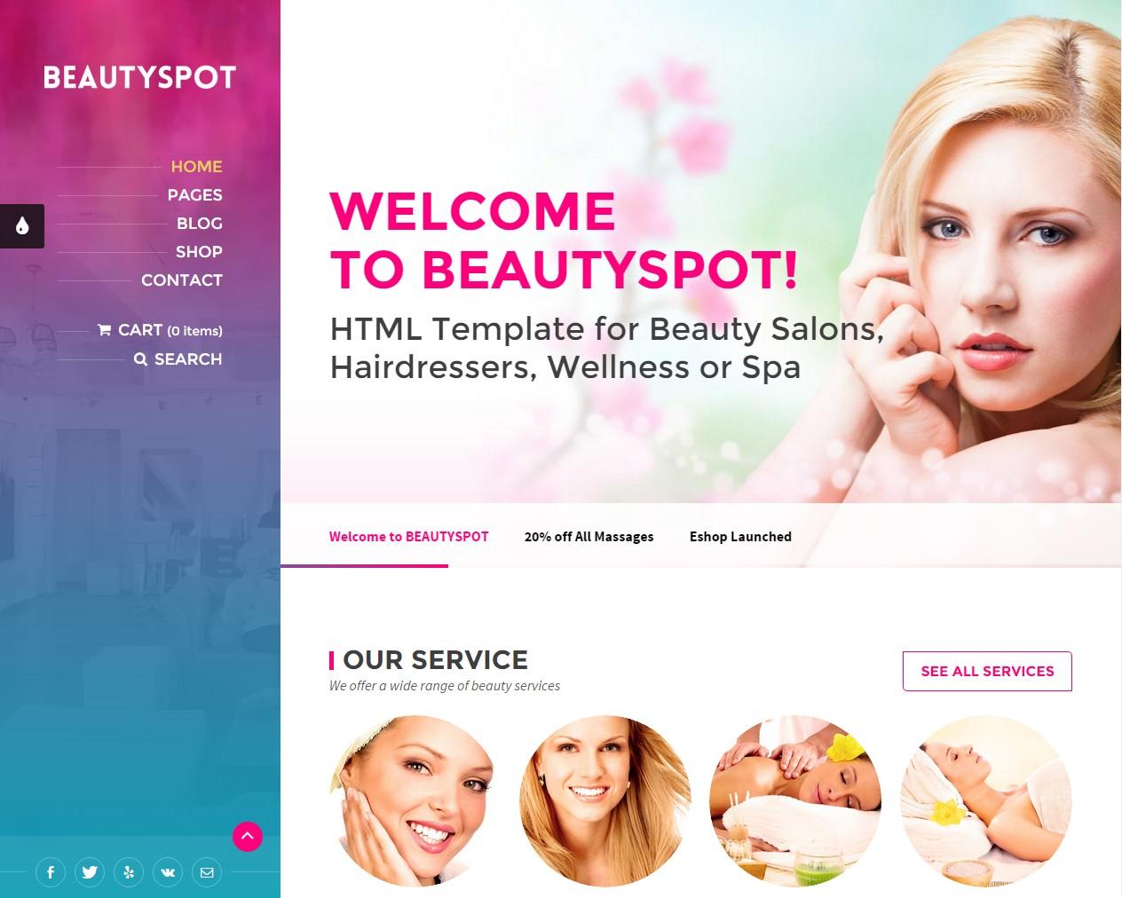 theme wordpress cosmétique massage manucure
