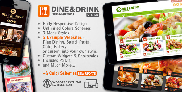 theme wordpress restaurant dine drink