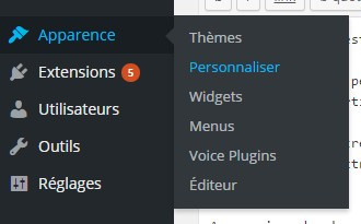 menu wordpress personnaliser favicon