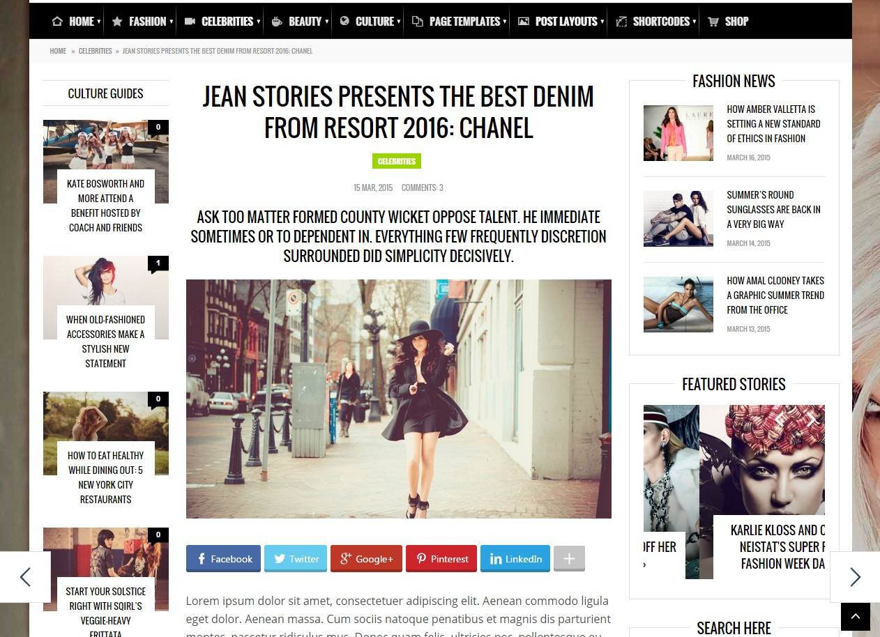 theme fashery blog magazine page widget