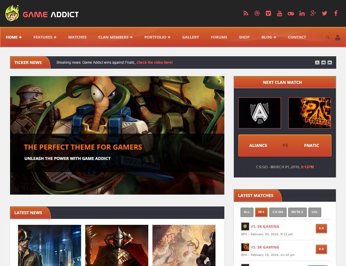 theme wordpress jeux video game addict