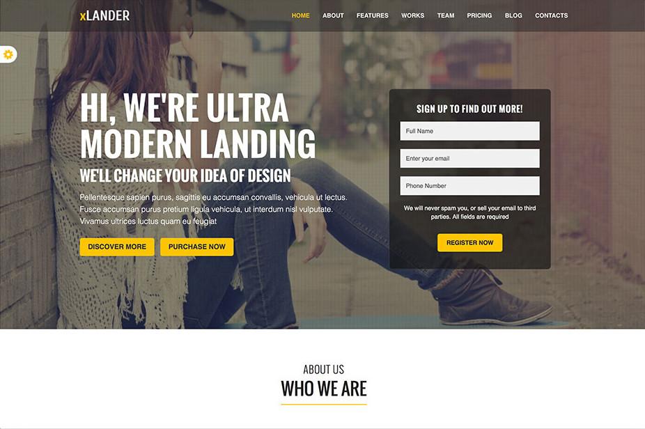 theme landing page xLander