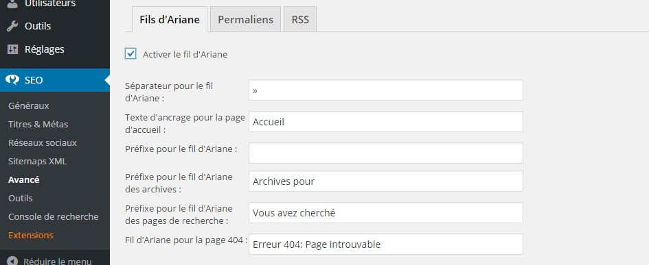 activation fil ariane yoast seo