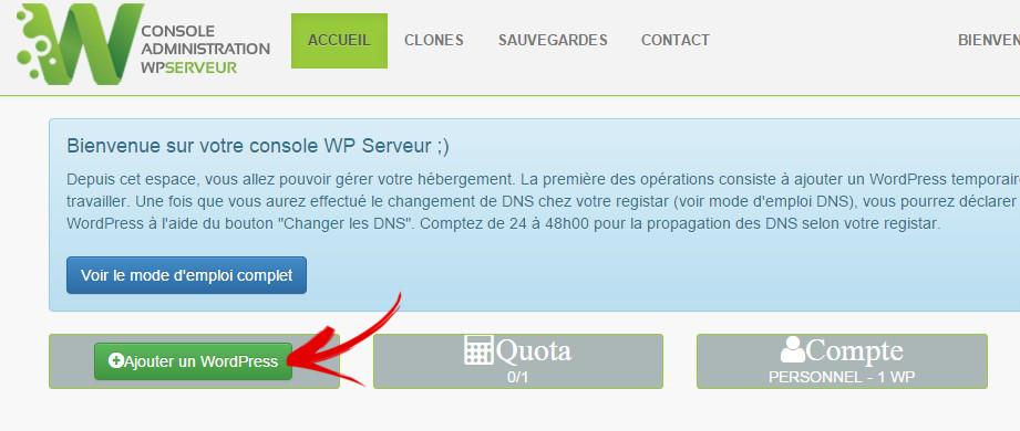 console wp serveur