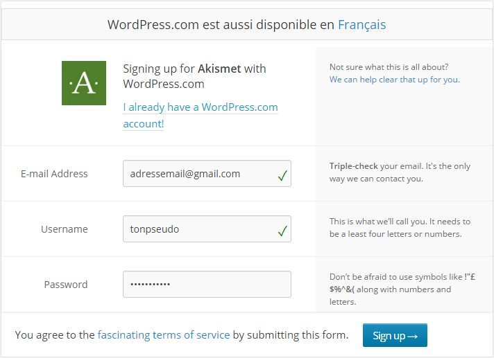 formulaire inscription wordpress akismet