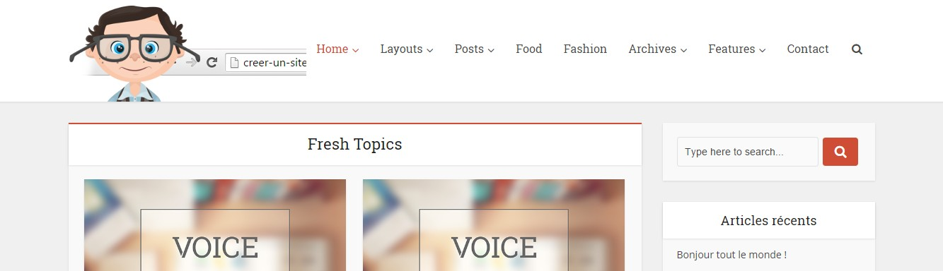 header sans slider theme the voice wordpress