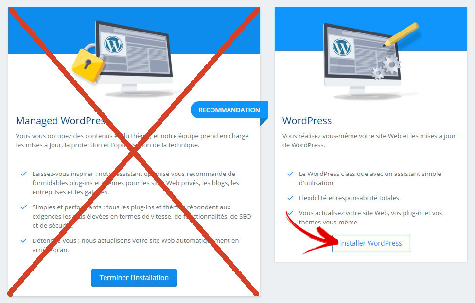 options d'installation wordpress 1and1