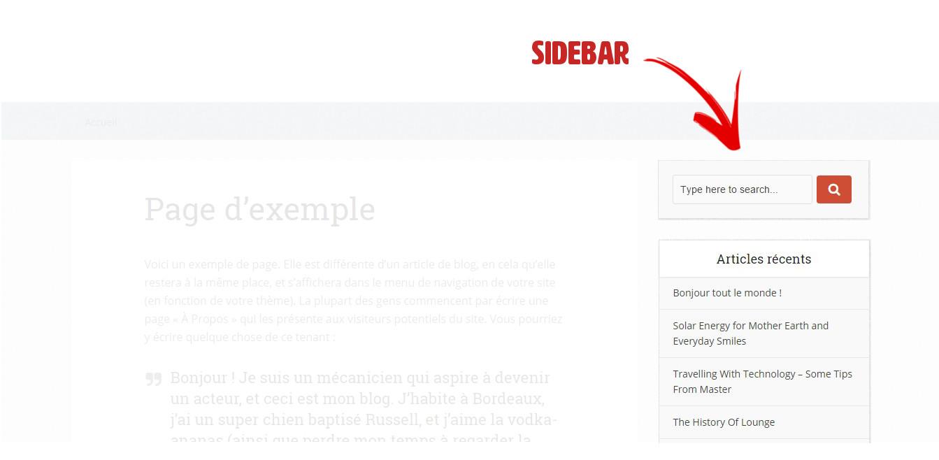 personnalisation de la sidebar