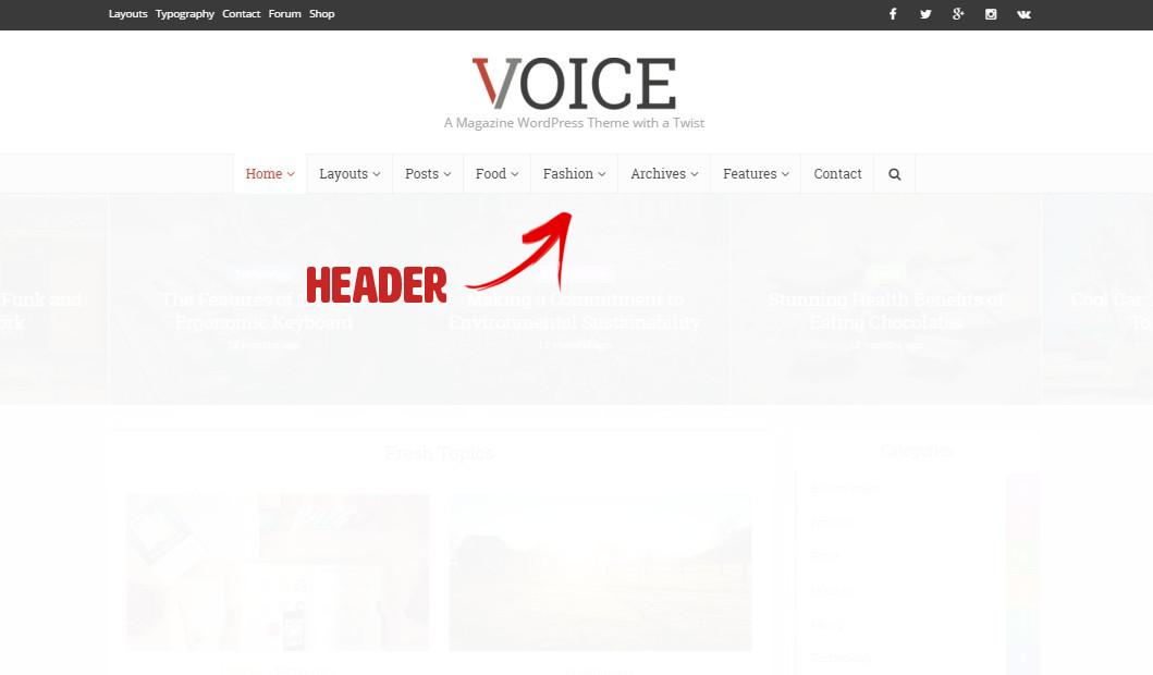 personnalisation du header