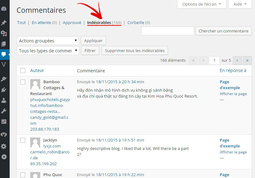 spam commentaire wordpress