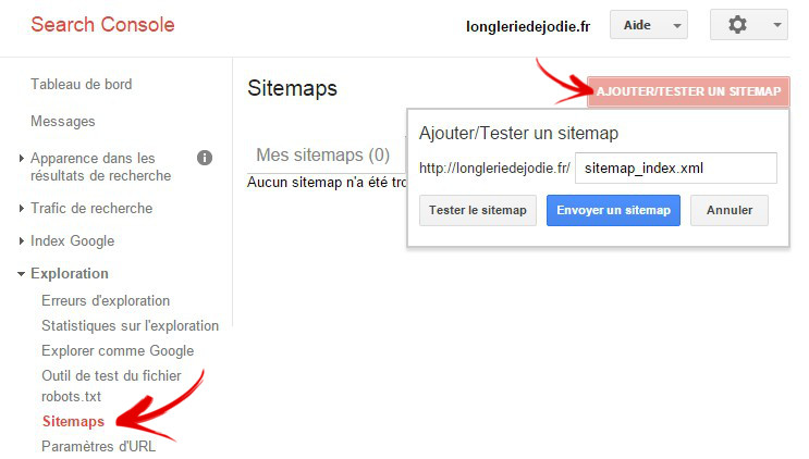 ajouter sitemap webmasters tools