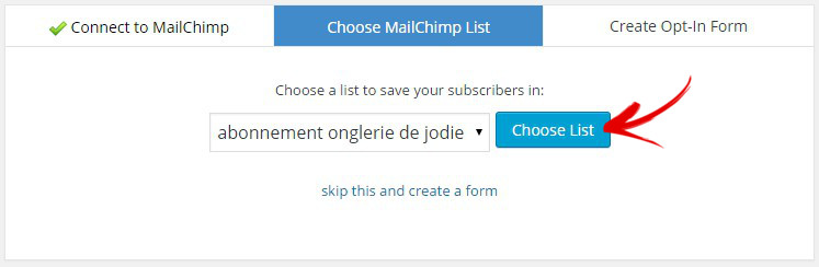 choisir list mailchimp forms