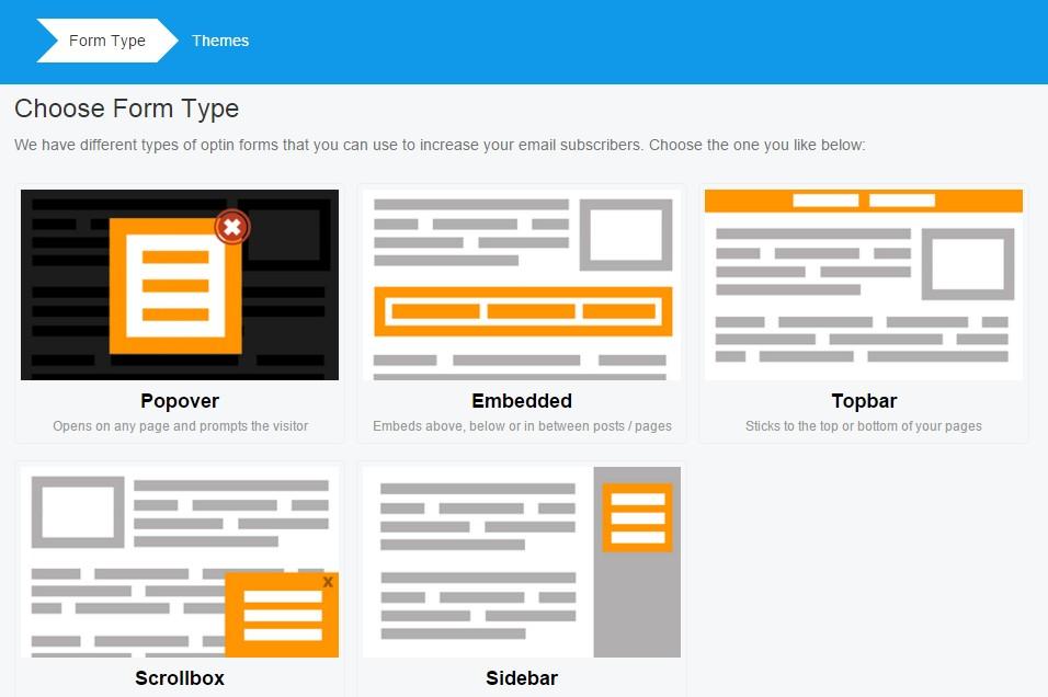 choisir type de formulaire mailchimp forms