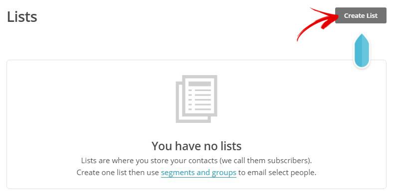 creer une liste 2 mailchimp
