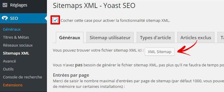 generer sitemap plugin yoast seo