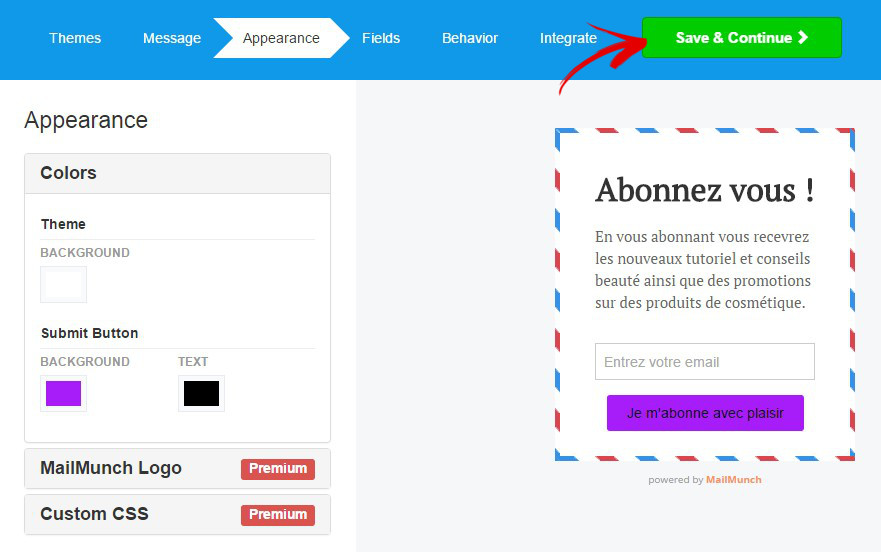 personnaliser apparence mailchimp forms