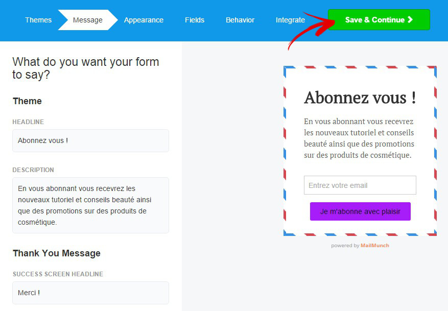 phrases formulaire mailchimp forms