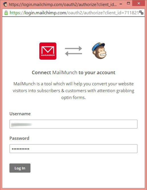 popup connexion mailchimp form