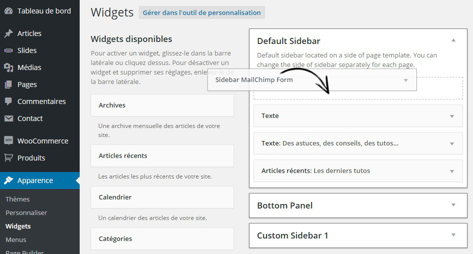 widget mailchimp forms suscribe