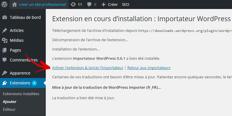 activer extension importateur wordpress