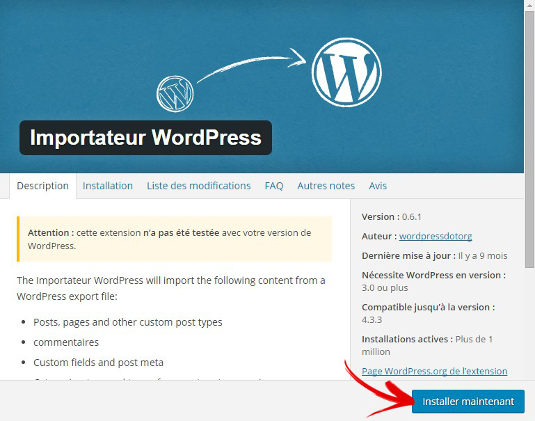 importateur wordpress plugin