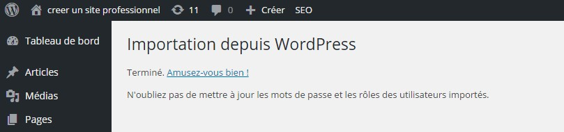 importation xml terminé wordpress