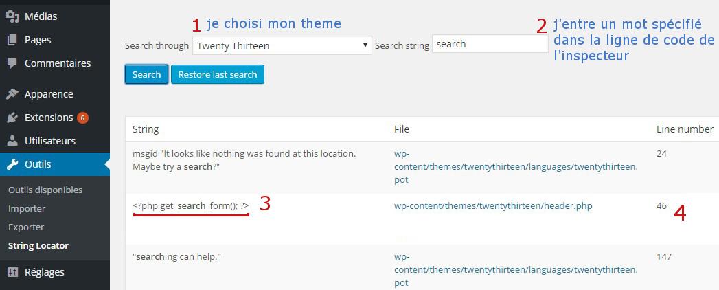 recherche fonction plugin string locator