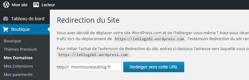 redirection du site wordpress com