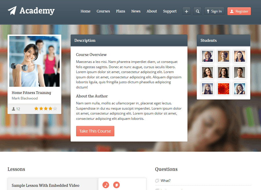theme wordpress formation learning academy