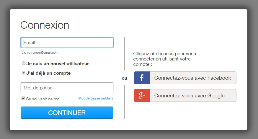 connexion inscription creer un site wix
