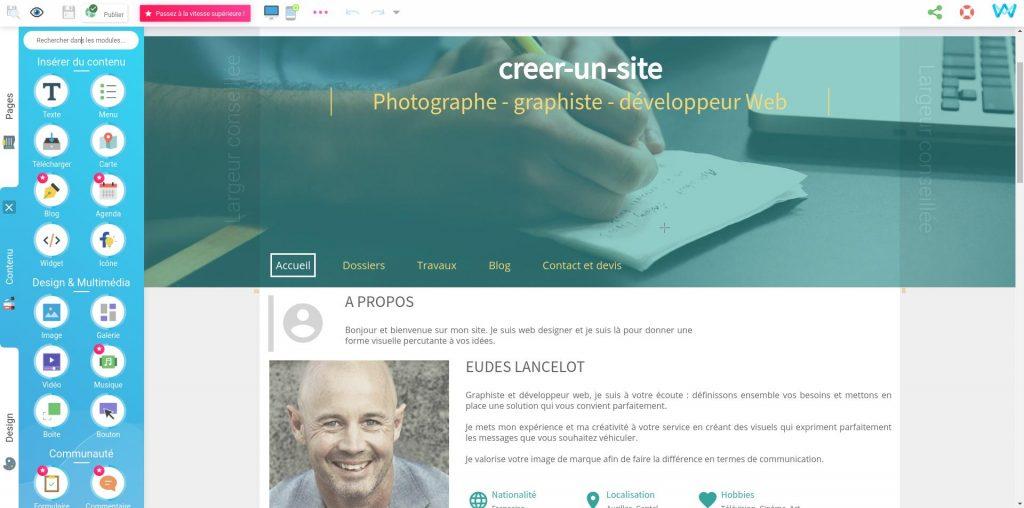 Aperçu de l'éditeur de site en ligne SiteW avec le template creer-un-site
