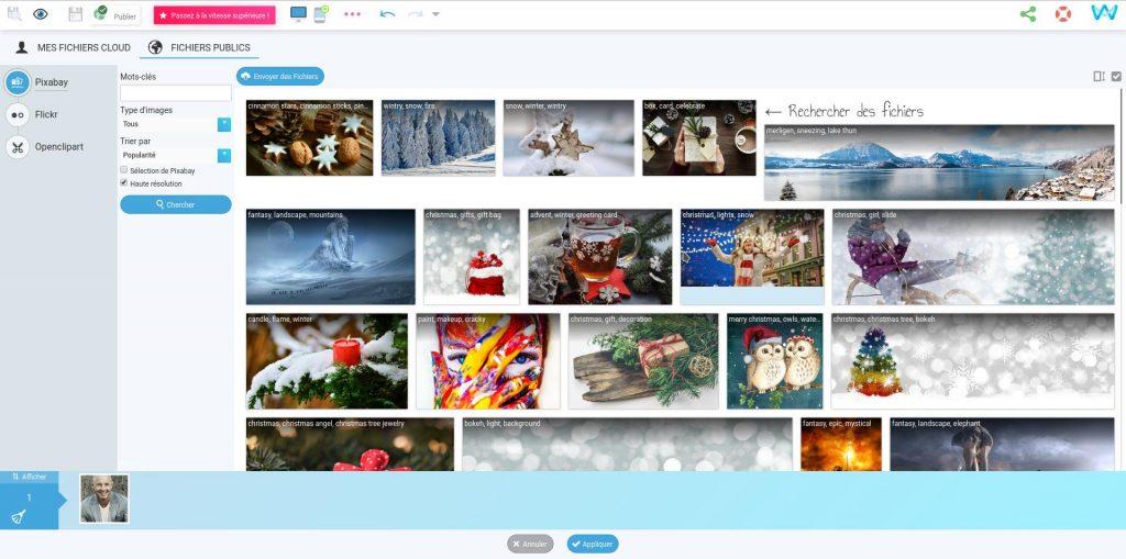 Recherche d'images libres de droit dans le gestionnaire d'images de SiteW