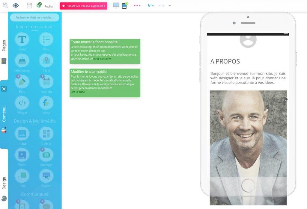 Rendre au site adaptatif automatiquement en vue mobile (responsive webdesign) avec SiteW
