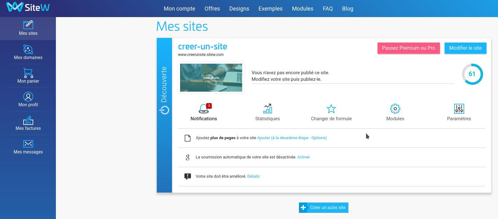 Backoffice de SiteW : liste des sites créés avec la plaforme d'édition de sites en ligne