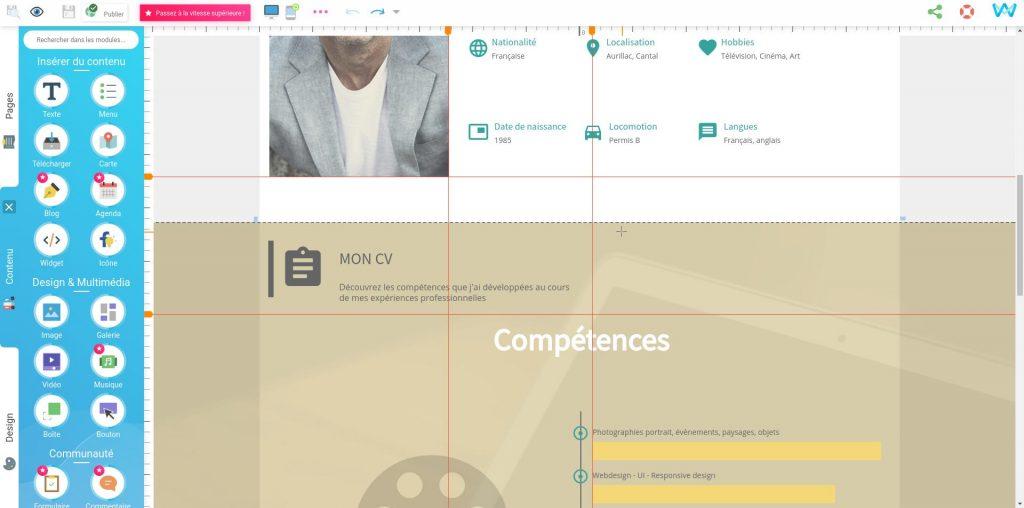 Aligner les éléments d'une page web grâce aux règles et guides du créateur de site SiteW