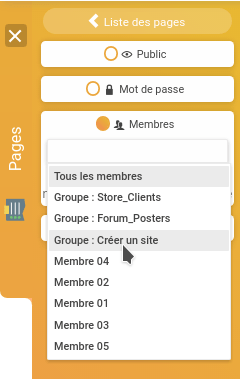 Réserver l'accès d'une page à un groupe de membres sur SiteW
