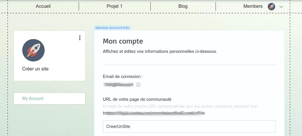 Gestion des informations d'un membre du site dans l'outil de création de site Internet Wix
