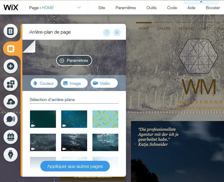 Appliquer des effets de fond de page sur un site Internet créé avec l'éditeur de site Wix