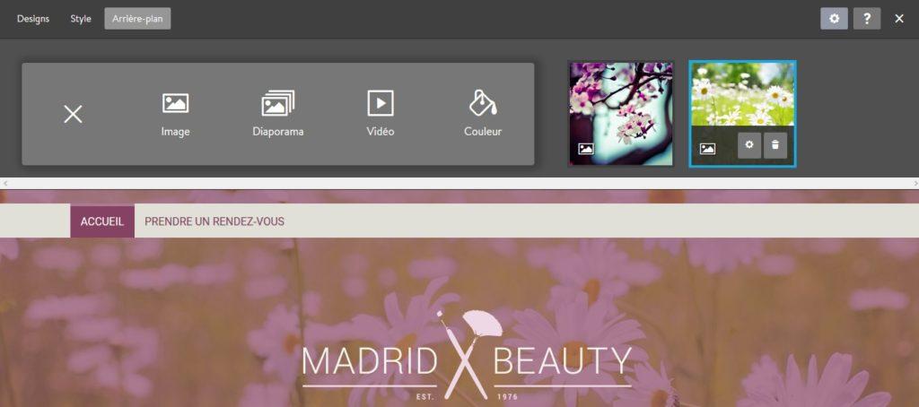 Définir le fond du site avec l'outil en ligne de création de site Jimdo