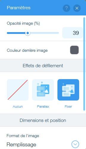 Changer les paramètres du fond de page avec l'éditeur de site web Wix