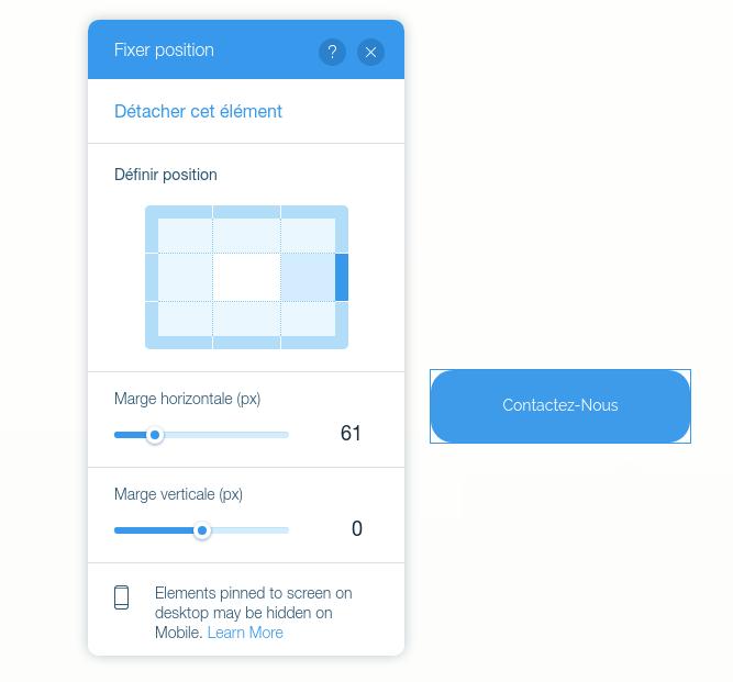 Créer un élément en position figée sur un site Internet créé avec l'éditeur en ligne Wix