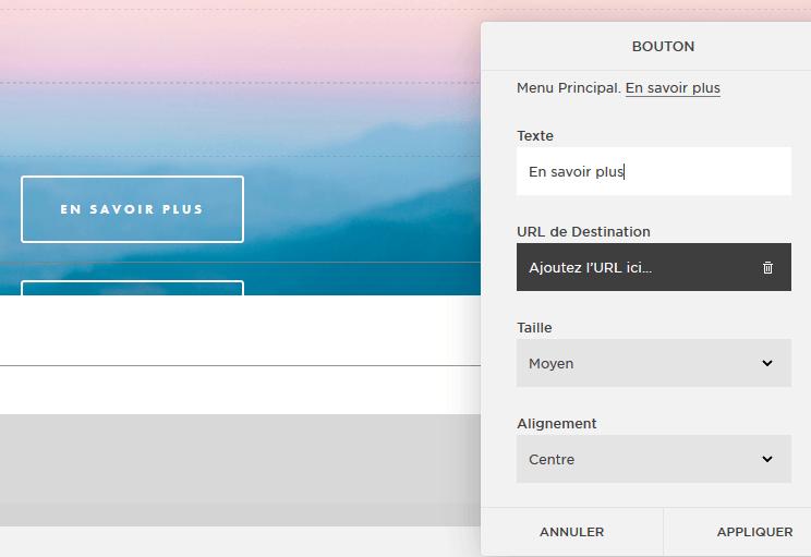 Paramétrer le bouton d'appel à l'action d'un site web créé avec Squarespace