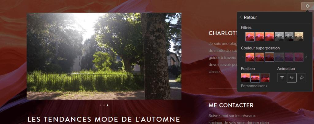 Créer une animation parallax sur une image avec l'éditeur de site Webnode