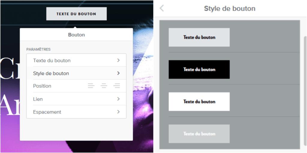 Améliorer le design d'un bouton sur une page web avec Weebly