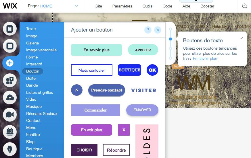 Ajouter un bouton sur sa page web avec Wix
