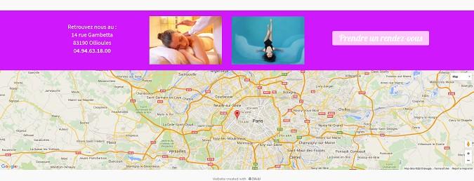Affiche la carte Google Maps de localisation d'un cabinet de thérapeute avec SiteW