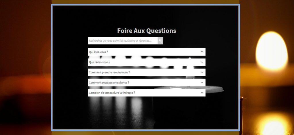 Insérer une foire aux questions (FAQ) sur un site d'étiopathe ou d'hypnothérapeute avec SiteW