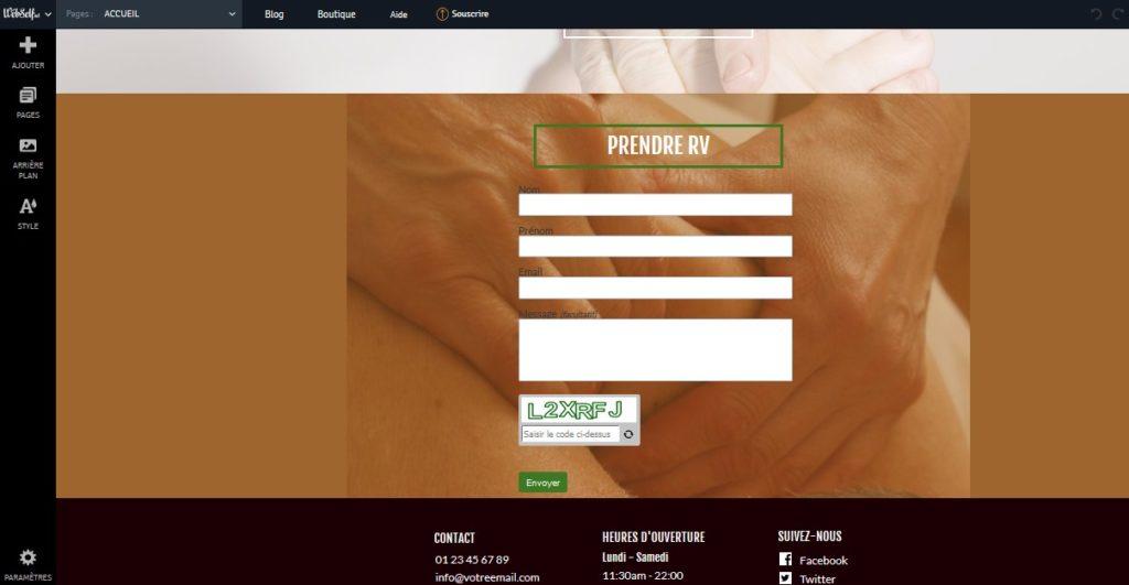Créer un formulaire de contact pour un site de sophrologie ou de réflexologie avec Webself