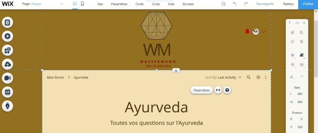 Intégrer un forum sur un site de santé alternative avec Wix